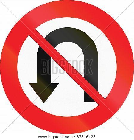 Austrian regulatory sign 3c - no U-turn. poster