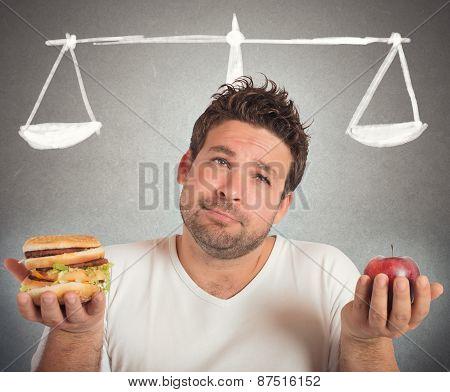 Man choosing between healthy food and unhealthy poster