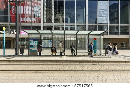 People Wait At Train Station Willi Brandt Platz