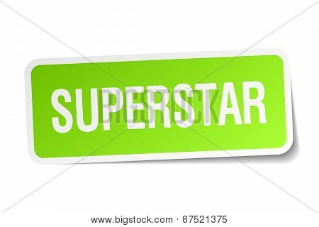 Superstar Green Square Sticker On White Background