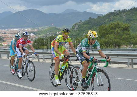 MARMARIS, TURKEY - MAY 1, 2014: Heiner Rodrigo Parra Bustamente from the team Caja Rural - Seguros leading on the first climb of 5th stage of 50th Presidential Cycling Tour of Turkey