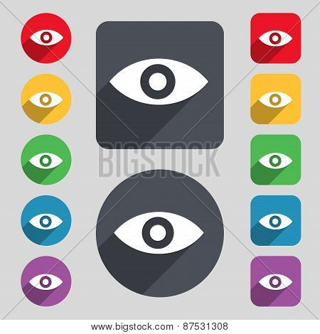Eye, Publish Content, Sixth Sense, Intuition Icon Sign. A Set Of 12 Colored Buttons And A Long Shado