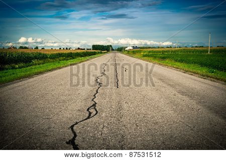 Country Road Stretching Toward Horizon