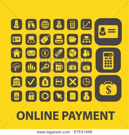 online finance, payment icons set, vector