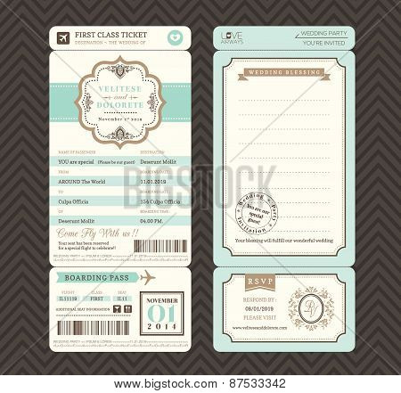 Vintage Style Boarding Pass Ticket Wedding Invitation Template Vector
