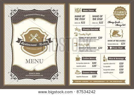 Vintage Frame Restaurant Menu Design