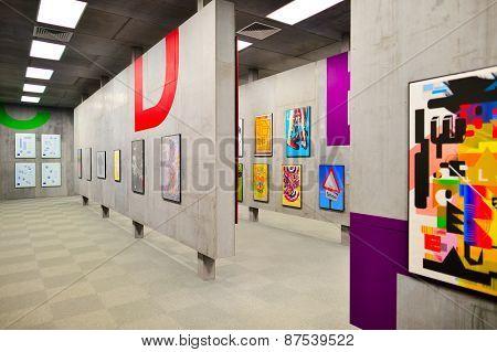 HONG KONG - FEBRUARY 04, 2015: art exhibition in Hong Kong Heritage Museum. Hong Kong Heritage Museum  is a museum of history, art and culture in Sha Tin, Hong Kong, located beside the Shing Mun River