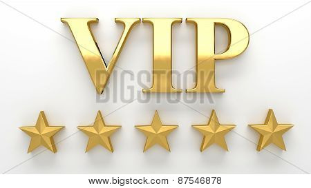 Vip - Very Important Person - Gold 3D Render On The Wall Background With Soft Shadow.