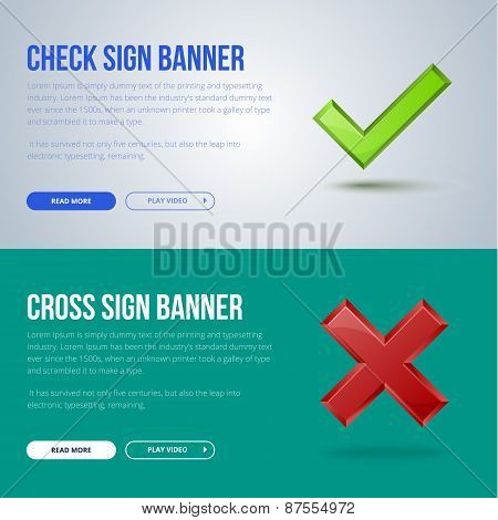 Vector banner illustration of Check mark and cross sign