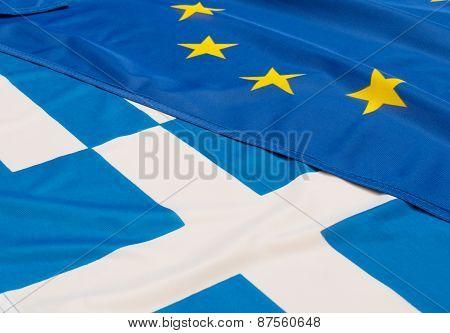 Eu And Greece Flags