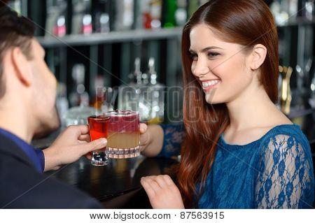 Beautiful girl in the bar