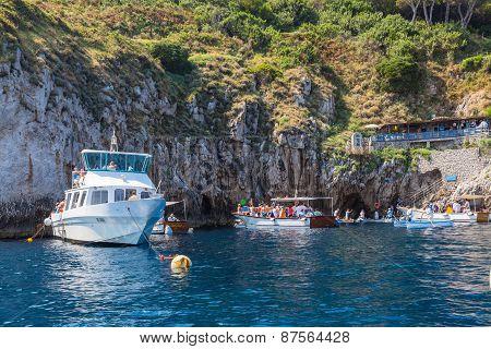 Entrance Of Blue Grotto On Capri Island