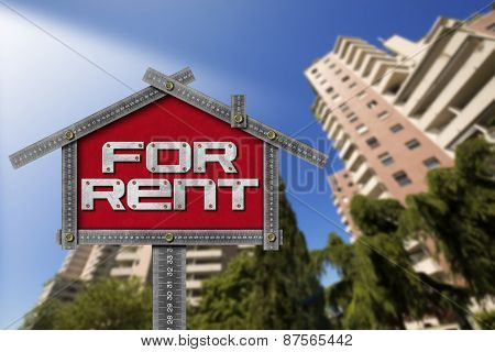 House For Rent Sign - Metallic Meter