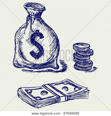 Moneybag and coin