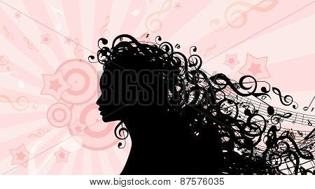 Silhouette of Woman head with Music Hair. Stock Vector Illustration