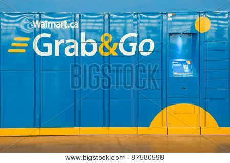 Grab And Go Lockers In Wallmart Superstore