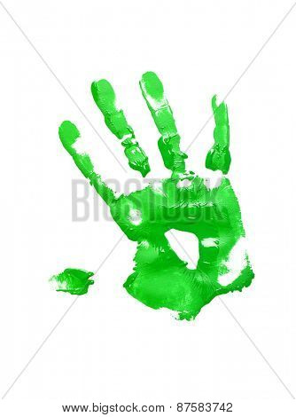 Green handprint on white background