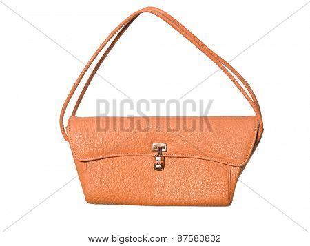 Orange purse isolated on white background