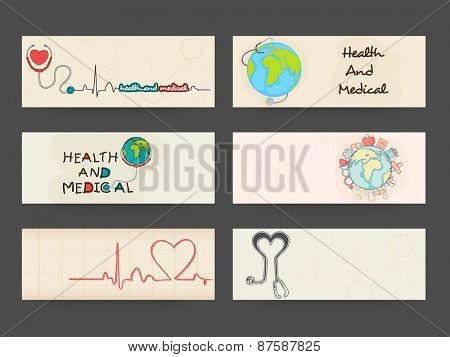 Website header or banner set with heart, stethoscope and globe for Health and Medical concept.
