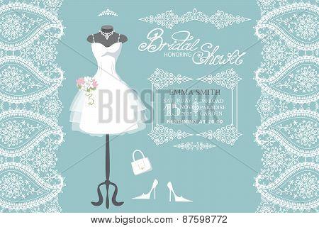 The composition of wedding dress, handbags , high-heeled shoes, swirling frame, paisley border. Bridal shower.Fashion vector Illustration poster