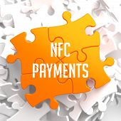 NFC Payments on Yellow Puzzle on White Background. poster