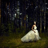 Portrait of romantic woman in fairy forest poster