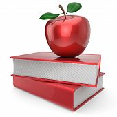 Back to school book and apple education health books reading textbook concept. 3d render isolated on white poster