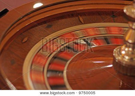 Spinning roulette wheel