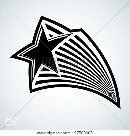 Astronomy conceptual illustration, pentagonal comet star, celestial object with comet tail
