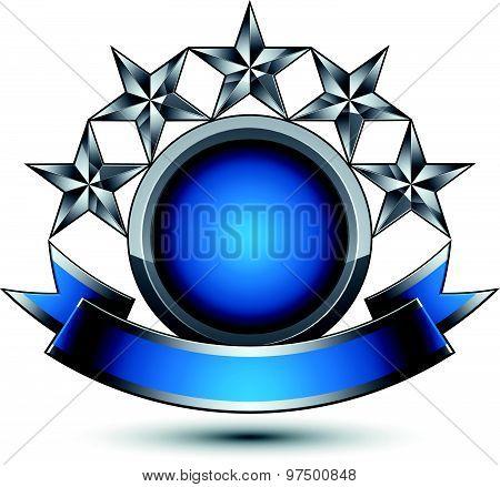 Silver geometric symbol with curvy ribbon, stylized silver pentagonal stars, web design