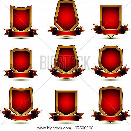 Set of geometric vector glamorous golden elements isolated on white backdrop, 3d polished lockets