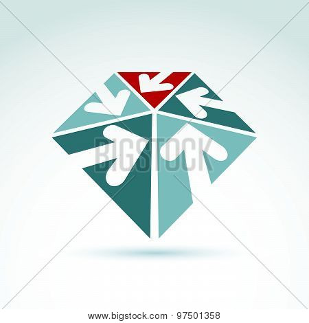 Vector abstract 3D  icon with five multidirectional arrows, symbol, design element.