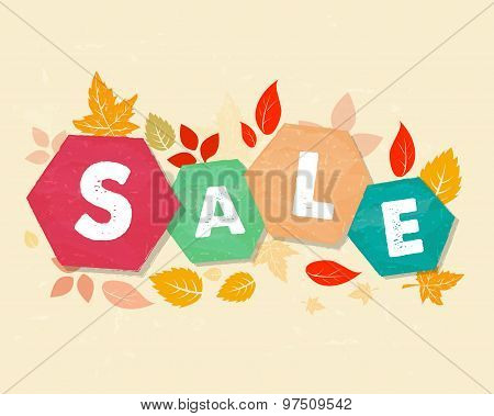 autumn sale with fall leaves business seasonal shopping concept in colorful grunge drawn flat design hexagons labels poster