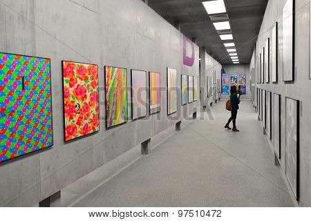 HONG KONG - FEBRUARY 04, 2015: art exhibition in Hong Kong Heritage Museum. Hong Kong Heritage Museum  is a museum of history, art and culture in Sha Tin, Hong Kong, located beside the Shing Mun River