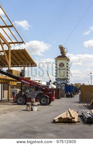 Buildup Of The Oktoberfest Tents At Theresienwiese in Munich on July 30, 2015.