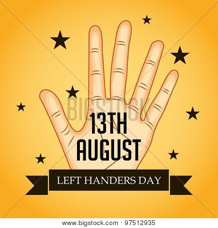 illustration of a Hand for Happy Left Handers Day. poster