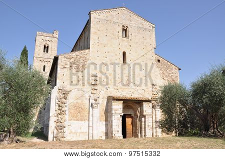 Abbazia di Sant Antimo, Benedictine monastery Montalcino, Tuscany, Italy