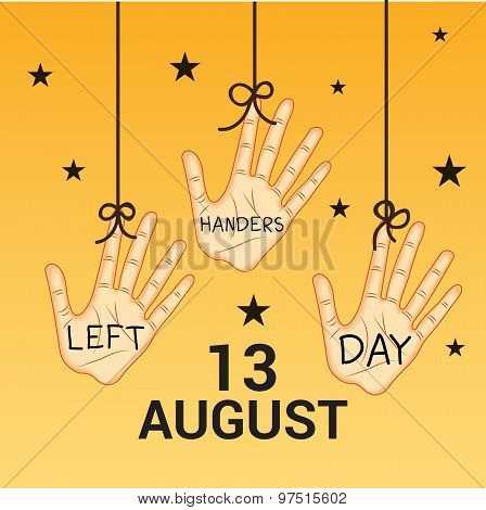 illustration of a Hanging Hand for Happy Left Handers Day. poster