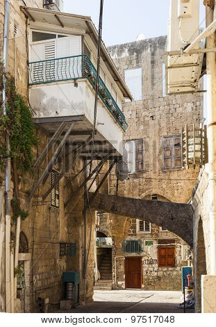 Streets Of Ancient City Of Akko In The Morning. Israel