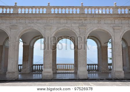 Arches architecture detail of old building in the Monastery of Monte Cassino