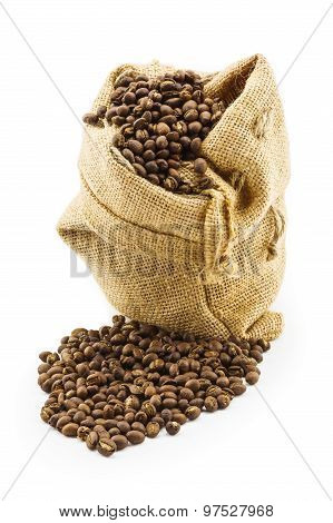 Roasted Coffee Beans In Ramie Sac
