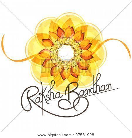 Beautiful creative rakhi on shiny background for Indian festival of brother and sister love, Happy Raksha Bandhan celebration.
