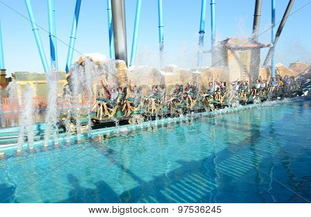 Port Aventura, Spain - May 26: The Shambhala Rollercoaster In Port Aventura Theme Park In May 26, 20