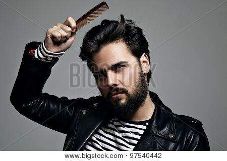 Bearded Man Coomb His Hair