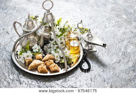 Tea, Traditional Oriental Delights Baklava. Islamic Holidays Decoration