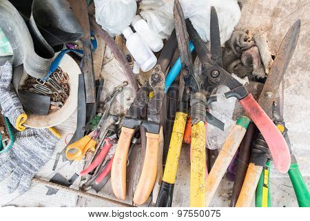 Garden Tools On Working Table