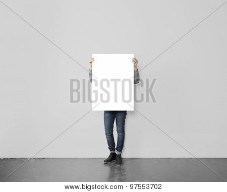 Hipster Holding Blank Poster