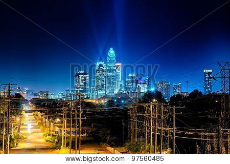 Charlotte North Carolina Skyline At Night