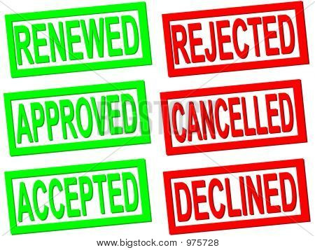 Approved, Accepted, Rejected, Cancelled  Stamps
