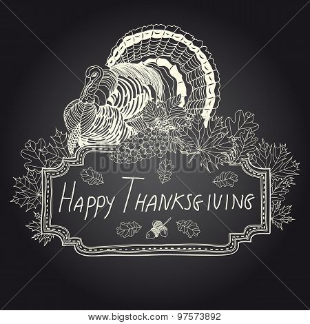Vector hand drawn Thanksgiving background.